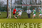 Caolim Teahan Glenbeigh/Glencar drives homes the first goal past Gabrel Rangers keeper Darren O'Mahpony during the Munster Junior cup final in Mallow on Sunday
