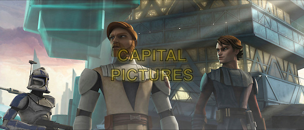 CLONE TROOPER, OBI-WAN KENOBI (James Arnold Taylor) & ANAKIN SKYWALKER (Matt Lanter).in Star Wars: The Clone Wars.*Filmstill - Editorial Use Only*.CAP/FB.Supplied by Capital Pictures.