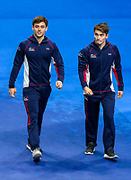 Picture by Rogan Thomson/SWpix.com - 17/07/2017 - Diving - Fina World Championships 2017 -  Duna Arena, Budapest, Hungary - Tom Daley and Dan Goodfellow of Great Britain are introduced ahead of the Men's 10m Synchro Platform Preliminary.
