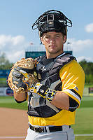 West Virginia Power catcher Taylor Gushue (17) poses for a photo prior to the game against the Kannapolis Intimidators at CMC-Northeast Stadium on April 21, 2015 in Kannapolis, North Carolina.  The Power defeated the Intimidators 5-3 in game one of a double-header.  (Brian Westerholt/Four Seam Images)