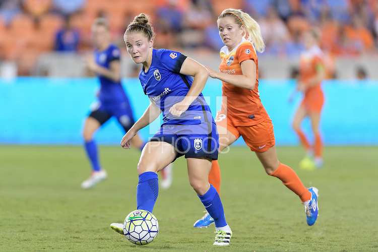Houston, TX - Sunday Sept. 25, 2016: Kim Little, Denise O'Sullivan during a regular season National Women's Soccer League (NWSL) match between the Houston Dash and the Seattle Reign FC at BBVA Compass Stadium.