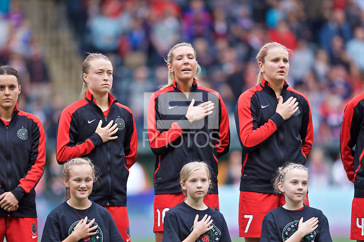 Portland, OR - Saturday June 17, 2017: Emily Sonnett, Allie Long, Lindsey Horan during a regular season National Women's Soccer League (NWSL) match between the Portland Thorns FC and Sky Blue FC at Providence Park.