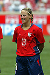 6 June 2004: Kristine Lilly during player introductions. The United States tied Japan 1-1 at Papa John's Cardinal Stadium in Louisville, KY in an international friendly soccer game..