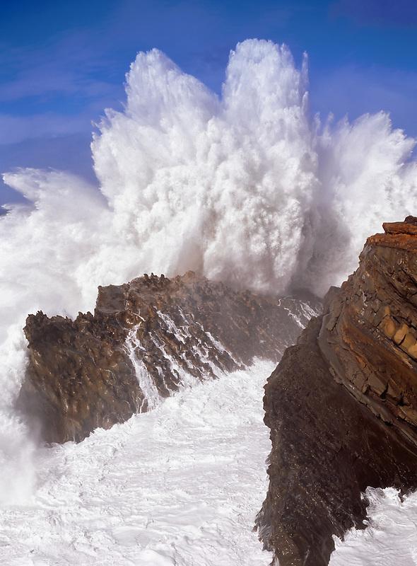 Crashing wave at Shore Acres State Park, Oregon.