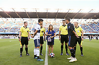 SAN JOSE, CA - AUGUST 24:  Fredy Montero #12 of the Vancouver Whitecaps FC and Chris Wondolowski #8 of the San Jose Earthquakes during the coin toss prior to a Major League Soccer (MLS) match between the San Jose Earthquakes and the Vancouver Whitecaps FC  on August 24, 2019 at Avaya Stadium in San Jose, California.