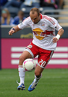 CHESTER, PA - OCTOBER 27, 2012:   Joel Lindpere (20) of the New York Red Bulls during an MLS match against the Philadelphia Union at PPL Park in Chester, PA. on October 27. Red Bulls won 3-0.