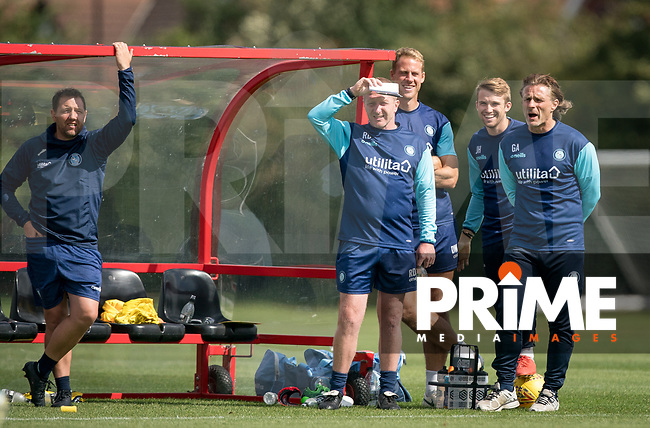 (L-r) Wycombe Wanderers Goalkeeper Coach Andy Fairman, Wycombe Wanderers Assistant Manager Richard Dobson, Wycombe Wanderers Sports Scientist David Wates, Wycombe Wanderers Analyst Josh Hart & Wycombe Wanderers Manager Gareth Ainsworth during the behind closed doors friendly between Brentford B and Wycombe Wanderers at Brentford Football Club Training Ground & Academy, 100 Jersey Road, TW5 0TP, United Kingdom on 3 September 2019. Photo by Andy Rowland.