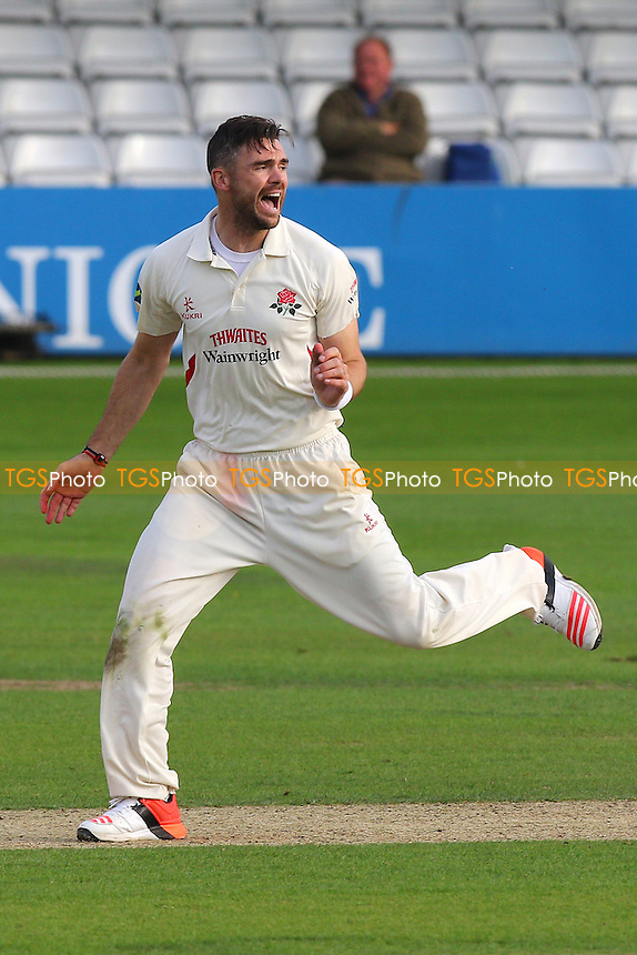 James Anderson of Lancashire celebrates taking the wicket of Ryan ten Doeschate during Essex CCC vs Lancashire CCC, Day Two
