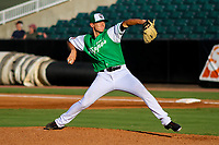 Jackson Generals pitcher Ryan Atkinson (46) delivers a pitch during a Southern League game against the Biloxi Shuckers on July 27, 2018 at The Ballpark at Jackson in Jackson, Tennessee. Biloxi defeated Jackson 15-7. (Brad Krause/Four Seam Images)