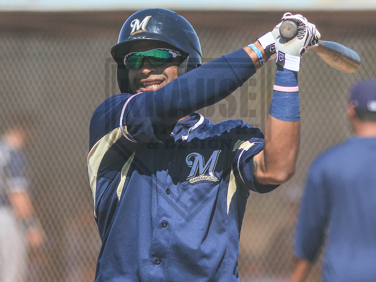 MARYVALE - March 2015: Sthervin Matos of the Milwaukee Brewers during a spring training game against the Cleveland Indians on March 26th, 2015 at Maryvale Baseball Park in Mesa, Arizona. (Photo Credit: Brad Krause)