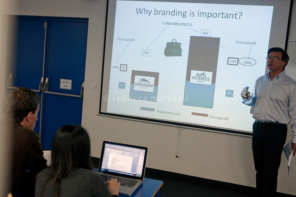 "Professor Luca Signoretti gives a lecture on ""Brand Management"" to undergraduate students at the International University of Monaco, Fontvielle, Monaco, 19 April 2013"