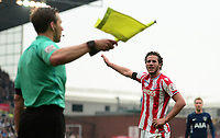 Ramadan of Stoke appeals for a throw in during the EPL - Premier League match between Chelsea and West Ham United at Stamford Bridge, London, England on 8 April 2018. Photo by PRiME Media Images.