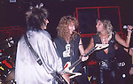 Nikki Sixx & Vince Neil of Motley Crue & Steve Plunkett of Autograph  at The Roxy in Hollywood Aug 1986.