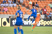 Houston, TX - Sunday Sept. 25, 2016: Kim Little, Ellie Brush during a regular season National Women's Soccer League (NWSL) match between the Houston Dash and the Seattle Reign FC at BBVA Compass Stadium.