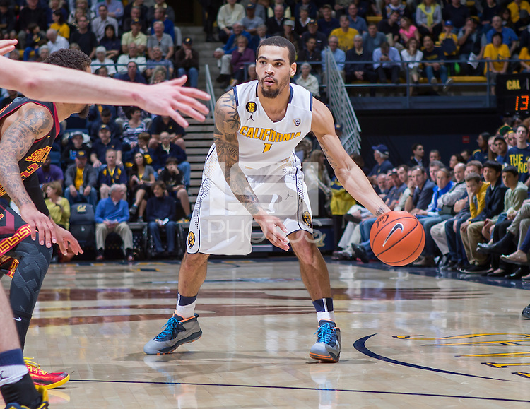 California's Justin Cobbs in action during a game against USC at Haas Pavilion in Berkeley, California on February 23th, 2014. California defeated USC 77 - 64