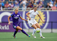 Orlando, FL - Saturday Sept. 24, 2016: Kaylyn Kyle, Heather O'Reilly during a regular season National Women's Soccer League (NWSL) match between the Orlando Pride and FC Kansas City at Camping World Stadium.