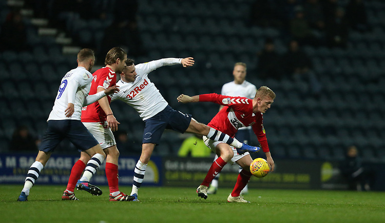 Preston North End's Alan Browne loses possession to Middlesbrough's George Saville<br /> <br /> Photographer Stephen White/CameraSport<br /> <br /> The EFL Sky Bet Championship - Preston North End v Middlesbrough - Tuesday 27th November 2018 - Deepdale Stadium - Preston<br /> <br /> World Copyright © 2018 CameraSport. All rights reserved. 43 Linden Ave. Countesthorpe. Leicester. England. LE8 5PG - Tel: +44 (0) 116 277 4147 - admin@camerasport.com - www.camerasport.com