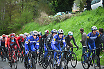 Deceuninck-Quick Step drive the pace on the front of the peloton during a wet miserable 105th edition of Liège-Bastogne-Liège 2019, La Doyenne, running 256km from Liege to Liege, Belgium. 28th April 2019<br /> Picture: ASO/Gautier Demouveaux | Cyclefile<br /> All photos usage must carry mandatory copyright credit (© Cyclefile | ASO/Gautier Demouveaux)