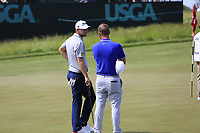 Bernd Wiesberger (AUT) and Kevin Chappell (USA) on the 6th green during Friday's Round 2 of the 117th U.S. Open Championship 2017 held at Erin Hills, Erin, Wisconsin, USA. 16th June 2017.<br /> Picture: Eoin Clarke | Golffile<br /> <br /> <br /> All photos usage must carry mandatory copyright credit (&copy; Golffile | Eoin Clarke)