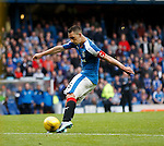 Lee Wallace blasts in the third goal for Rangers