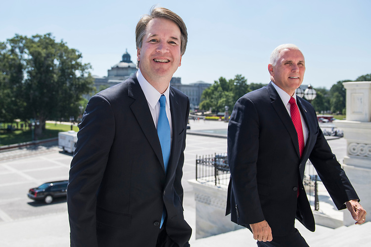 UNITED STATES - JULY 10: Supreme Court nominee Brett Kavanaugh, left, walks up the Capitol's Senate steps with Vice President Mike Pence for a meeting with Senate Majority Leader Mitch McConnell, R-Ky., on July 10, 2018. (Photo By Tom Williams/CQ Roll Call)
