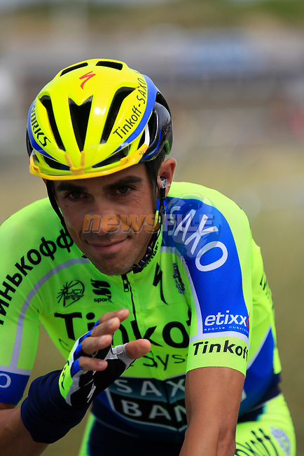 Alberto Contador (ESP) Tinkoff-Saxo in Le Touquet for the start of Stage 4 of the 2014 Tour de France running 163.5km from Le Touquet to Lille. 8th July 2014.<br /> Picture: Eoin Clarke www.newsfile.ie