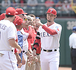 Yu Darvish (Rangers),<br /> APRIL 10, 2015 - MLB :<br /> Yu Darvish of the Texas Rangers bumps fists with teammates during player introductions before the Major League Baseball game against the Houston Astros at Globe Life Park in Arlington in Arlington, Texas, United States. (Photo by AFLO)