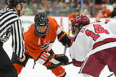 Jonathan Liau (Princeton - 10), Alexander Kerfoot (Harvard - 14) - The Harvard University Crimson defeated the visiting Princeton University Tigers 5-0 on Harvard's senior night on Saturday, February 28, 2015, at Bright-Landry Hockey Center in Boston, Massachusetts.