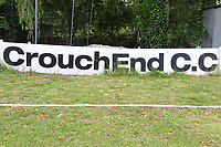 Crouch End Cricket Club signage during Crouch End CC (fielding) vs Waltham CC, ECB National Club Championship Cricket at The Calthorpe Ground on 9th June 2019