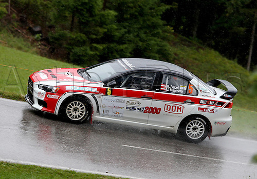 13 07 2012  Pictures Rally Schneeberg country Rally AUT State Championships Tube in Mountains Austria 13 Jul 12 motor aviation Rally Schneeberg country Rally Oesterreichische State Championships Picture shows Mario Saibel and Ursula Mayrhofer AUT Mitsubishi