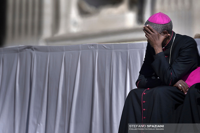 Bishop at Saint Peter's square .Pope Francis  during a weekly general audience at Saint Peter's square on April 17, 2019
