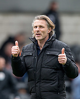 Wycombe Wanderers Manager Gareth Ainsworth gives supporters 2 thumbs up as he celebrates the win during the Sky Bet League 2 match between Barnet and Wycombe Wanderers at The Hive, London, England on 17 April 2017. Photo by Andy Rowland.