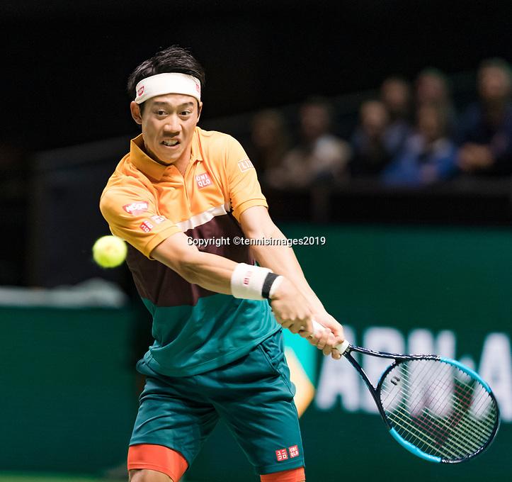 Rotterdam, The Netherlands, 14 Februari 2019, ABNAMRO World Tennis Tournament, Ahoy, Kei Nishikori (JPN) in his match against Ernests Gulbis (LAT),<br /> Photo: www.tennisimages.com/Henk Koster