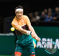 Rotterdam, The Netherlands, 14 Februari 2019, ABNAMRO World Tennis Tournament, Ahoy, Kei Nishikori (JPN) in his match against Ernests Gulbis (LAT),<br /> Photo: www.tennisimages.com/Henk Koster