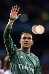 Goalkeeper Keylor Navas of Real Madrid celebrates after the UEFA Champions League Semi-final 2nd leg match between Real Madrid and Bayern Munich at the Estadio Santiago Bernabeu on May 01 2018 in Madrid, Spain. Photo by Diego Souto / Power Sport Images