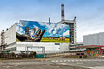 New mural appears on the side of the turbine hall at Chernobyl power station by Franco Cappellari