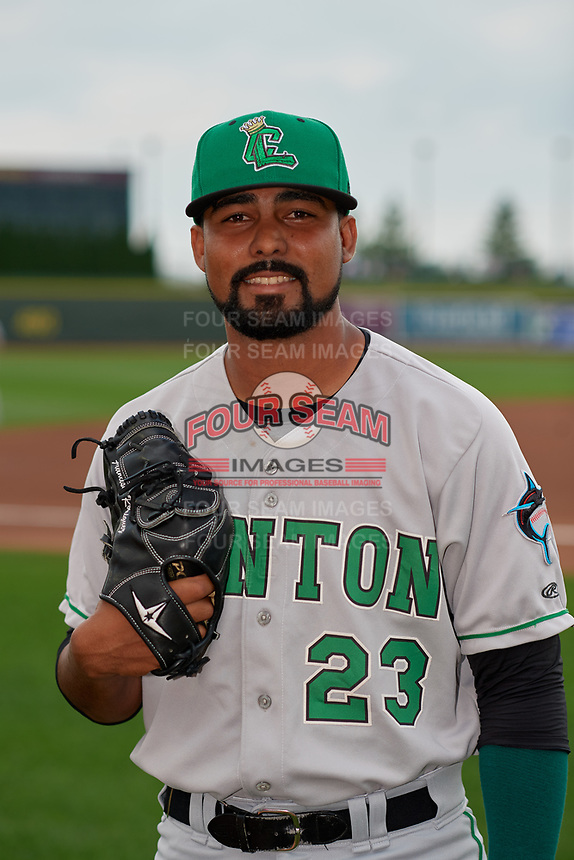 Clinton LumberKings pitcher Manuel Rodriguez (23) poses for a photo before a Midwest League game against the Great Lakes Loons on July 19, 2019 at Dow Diamond in Midland, Michigan.  Clinton defeated Great Lakes 3-2.  (Mike Janes/Four Seam Images)