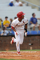 Shortstop Oscar Mercado (4) of the Johnson City Cardinals in a game against the Elizabethton Twins on Sunday, July 27, 2014, at Howard Johnson Field at Cardinal Park in Johnson City, Tennessee. Mercado was a second-round pick of the St. Louis Cardinals in the 2014 First-Year Player Draft. (Tom Priddy/Four Seam Images)