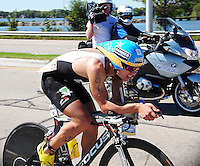 Nied Ger Danndorf is the first bicyclist to finish, with a time of 4:40:48, in Ironman 2010 on Sunday, 9/12/10, in Madison, Wisconsin
