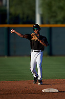AZL D-backs second baseman Glenallen Hill Jr. (6) throws to third base during an Arizona League game against the AZL Mariners on July 3, 2019 at Salt River Fields at Talking Stick in Scottsdale, Arizona. The AZL D-backs defeated the AZL Mariners 3-1. (Zachary Lucy/Four Seam Images)