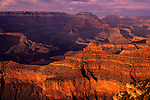 South Rim Grand Canyon taken near Yavapai Point sunset light on rock formations evening light Arizona State USA