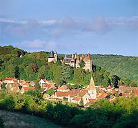 France, Burgundy, Côte d'Or, La Rochepot: Chateau de Rochepot | Frankreich, Burgund, Côte d'Or, La Rochepot: Chateau de Rochepot