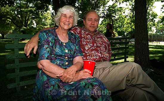 Betty Rae Watts and Steve Nelson at Liberty Park after Trent and Laura's temple wedding<br />