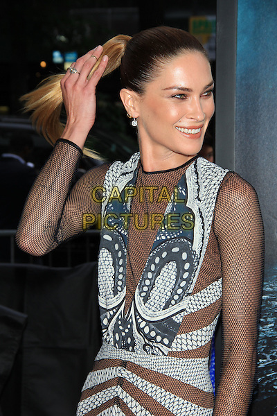 "Erin Wasson.The Premiere of ""Abraham Lincoln: Vampire Hunter"" at the AMC Loews Lincoln Square Cinemas, New York, NY., USA..June 18th, 2012.half length black netting mesh blue grey gray print dress hand arm ponytail.CAP/LNC/TOM.©LNC/Capital Pictures."