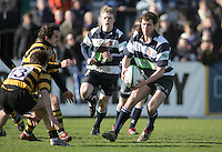 Wallace fullback Philip Wilson on the attack during the Northern Bank Schools Cup Final at Ravenhill. Result Wallace 0pts R.B.A.I. 15pts.
