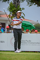 Yuxin LIN (CHN) watches his tee shot on 12 during Rd 4 of the Asia-Pacific Amateur Championship, Sentosa Golf Club, Singapore. 10/7/2018.<br /> Picture: Golffile | Ken Murray<br /> <br /> <br /> All photo usage must carry mandatory copyright credit (&copy; Golffile | Ken Murray)