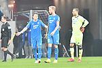 v.l. Hoffenheims Dennis Geiger (Nr.8), Hoffenheims Kevin Vogt (Nr.22) und Hoffenheims Oliver Baumann (Nr.1)  beim Spiel in der Fussball Bundesliga, TSG 1899 Hoffenheim - Fortuna Duesseldorf.<br /> <br /> Foto © PIX-Sportfotos *** Foto ist honorarpflichtig! *** Auf Anfrage in hoeherer Qualitaet/Aufloesung. Belegexemplar erbeten. Veroeffentlichung ausschliesslich fuer journalistisch-publizistische Zwecke. For editorial use only. DFL regulations prohibit any use of photographs as image sequences and/or quasi-video.