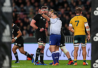 Referee Jaco Peyper sin bins Dane Coles during the Bledisloe Cup Rugby match between the New Zealand All Blacks and Australia Wallabies at Eden Park in Auckland, New Zealand on Saturday, 17 August 2019. Photo: Simon Watts / lintottphoto.co.nz