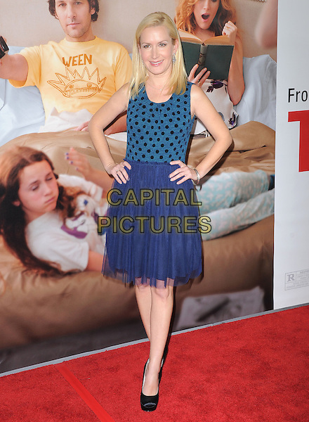 "Angela Kinsey.""This Is 40"" Los Angeles Premiere held at Grauman's Chinese Theatre, Hollywood, California, USA..December 12th, 2012.full length dress blue sleeveless black polka dot top tulle hands on hips.CAP/DVS.©DVS/Capital Pictures."