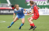 Portland, OR - Saturday April 29, 2017: Stephanie McCaffrey, Emily Menges during a regular season National Women's Soccer League (NWSL) match between the Portland Thorns FC and the Chicago Red Stars at Providence Park.